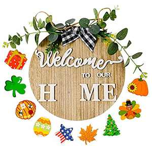 Welcome Sign for Front Porch, Wreaths for Front Door, Rustic Round Wooden Wreath with Buffalo Plaid Bow, Seasonal Changeable Well Come Sign Wall Hanging Outdoor Home Living Room Holiday Party Décor