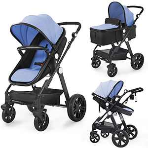 Newborn Infant Toddler Baby Stroller - Sleeping & Sitting Mode 2 in 1 All Terrain High Landscape Shock Absorption Sunshade Comfortable Baby Car for 0-36 Months Old Babies (Blue)