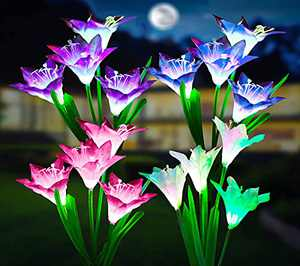 Solar Lights Outdoor Garden Upgrade with Bigger Lily Flowers Emulational in-ground Waterproof 7 Colors Changing LED Lawn Solar Landscape Figurine Lighting for Patio Yard Pathway(4 Pack)