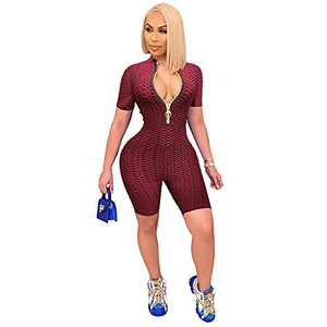One Piece Outfits Deep V Neck with Zipper Texture Short Rompers Jumpsuits for Women X-Large Wine Red