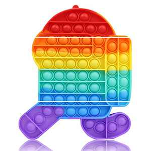 Big Pop Fidget Sensory Bubble Toy Rainbow Robot Large Mega Giant Fidgits Popper Satisfying ADHD Autism Cool Poop Popping Toys Stuff Gift Game Kids Teens Office Older