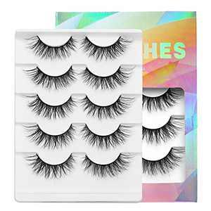 100% Mink Lashes Real Mink 12 mm Pinkywinky False Eyelashes Natural Look Wispy Fluffy Eyelashes 3D Fake Eyelashes Long Extension Eyelashes Curl Eyelashes Light Eyelashes, 5 Pairs