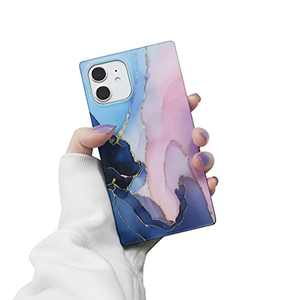 iPhone 11 Case for Women,LucaSng Cute Silicone Case for iPhone 11, Marble Square TPU Protective Case 6.1 inch(Pink and Blue)