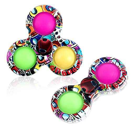 2Pcs Fidget Spinner Toys, Push toy Pop Bubble Fidget Spinner, Fidget Packs, Simple Dimple Fidget Popper, Fidget Spinner Pop Toy Anxiety Relief Toys, Sensory Toy, Stress Toys, Pop fidget spinner