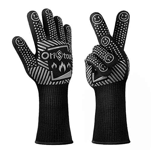 OriStout BBQ Gloves 1472℉ Extreme Heat Resistant EN407 Certified - Silicone Grilling Gloves Cut Resistant - Long Cuff Kitchen Oven Gloves - Non Slip Cooking Gloves for Barbecue, Baking, Smoker (Gray)