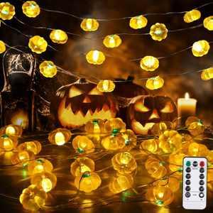 Halloween String Lights, Halloween Pumpkin Decorations Lights Indoor Outdoor Halloween Garland Decor for Halloween Fall Thanksgiving Party Decor (9.8 FT 30 LED)