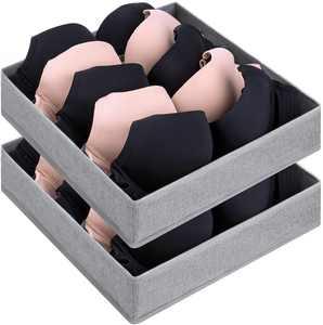 DIMJ 2 Pack Bra Organizer for Drawer, Foldable Closet Bra Storage Organizers with Washable Fabric, Storage Box for Bra, Grey, 5 Cell