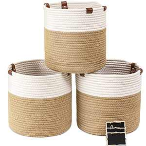 """Small Cotton Rope Basket 11"""" x 11"""" x 11"""" Baby Laundry Foldable Storage Woven Blanket Basket Nursery Bins with Handle (3 Pack)"""