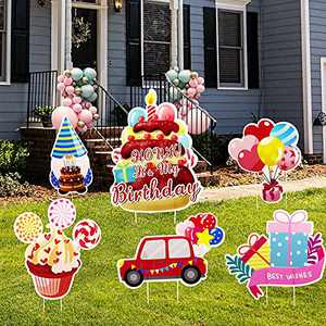 Amtiops 6 Pcaks Happy Birthday Yard Signs for Decorations- Durable Birthday Yard Signs with Plastic Stakes for Outdoor Birthday Party Decorations