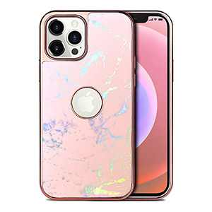 """PULOKA iPhone 12 Case Marble/iPhone 12 Pro Marble Case Anti-Fade Scratch-Proof Marble + Electroplated Bumper Glitter Phone Case for iPhone 12/12 Pro 6.1"""" -Pink Marble"""