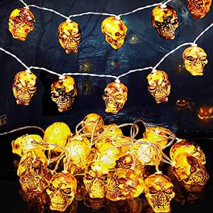 Halloween Lights, Halloween Decorations Lights Indoor Outdoor, Halloween Skull Decor Lights for Halloween Holiday Decoration(20 LED)