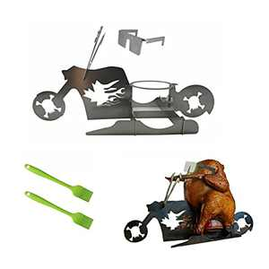 Motorcycle Beer Can Chicken Holder for Grill, Portable Beer Chicken Stand, Roast Chicken Rack for Outdoor BBQ (Skeleton)