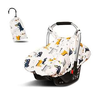 100% Cotton Carseat Cover Boy, Stretchy Infant Carseat Canopy with Breathable Adjustable Peep Window, Baby Car Seat Cover Fit for Mainstream Car Seats (Dinosaur,Boy )