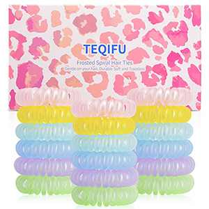 18 Pcs - Spiral Hair Ties, Phone Cord Hair Ties, Color Hair Ties, Small Hair Coils, Ponytail Holder, Suitable for Women Girls with Thick Hair, Can Be As Gift to Friends and Family