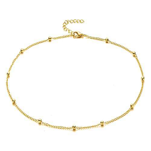Layered Choker Necklaces for Women, 14K Gold Plated Y Necklace Adjustable Multilayer Pearl Bar Disc Circle Triangle Beaded Lock Pendant Jewelry(Beads Chain)