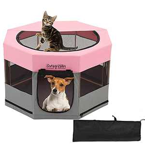"""SweetBin Dog Playpen Cat Pen with Waterproof Bottom and Removable Cover,Wood Frame Travel Pet Play Pen with Side Door for Dogs Small Puppies/Cats (29"""" x 29"""" x 17"""", Pink)"""