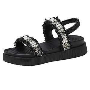 Cunatiee Women's Open Toe Ankle Elastic Strap Sandals, Casual Slide On Platform Wedge Sandals, Beach Flat Non Slip Sandal Shoes (Black, numeric_9)