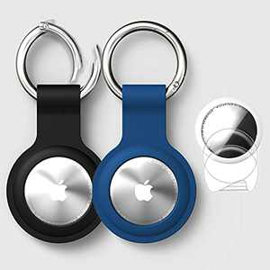 Case for AirTag Keychain 2021, 2 Pack Portable Silicone Cover with Keychain for AirTag Keychain, Anti-Scratch Lightweight Cover Protector for AirTag Case- Black & Blue