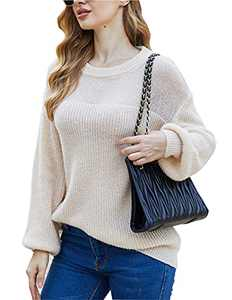 Leaduty Women's Knit Lantern Sleeve Sweater Pullover Casual Soft Crewneck Sweater Tops (Apricot, Medium)