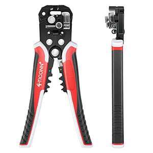 TICONN Automatic Wire Stripper Tool, 3 in 1 Wire Cutters Crimper Pliers Electrician Tools for 24–12 AWG Wire Stripping, Cutting and Crimping (Red)