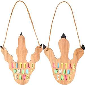 2 Pieces Dwarf Cave Wooden Sign Dinosaur Claw Hanging Wood Craft Boy Room Dinosaur Paw Decor Sign Little Man Cave Wooden Art Sign for Home Baby Room Nursery Decoration
