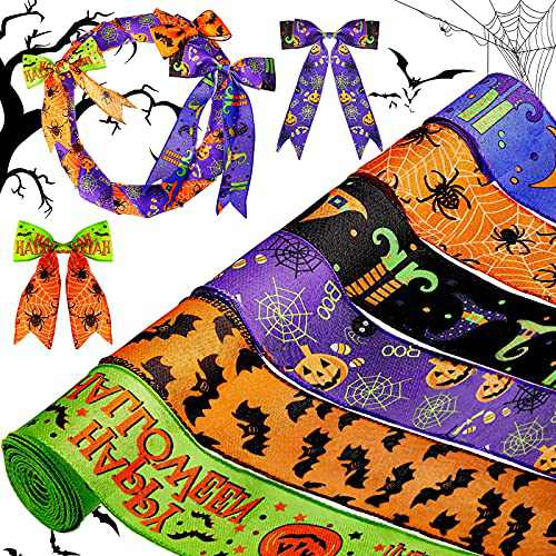 6 Rolls Halloween Wired Edge Ribbon for Wreaths 2.5 Inch x 30 Yards Bat Spider Web Pumpkin Print Grosgrain Ribbon Ghost Witch Hat and Leg Ribbon Halloween Party Decorative Ribbon Supplies, 6 Styles
