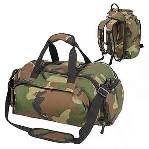 Sinhme Large Duffle Bag Backpack 3 in 1 bag with Shoes Compartment 51L Waterproof Sports Gym Travel Outdoor Overnight Bag for Men Women Army Green
