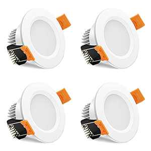 2 Inch LED Recessed Lighting, 3W Dimmable Retrofit Downlight, 3000K Warm White, CRI80, White Trim LED Ceiling Light with LED Driver, 4 Pack