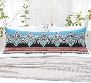 Natural Union Cotton Printed Body Long Pillow case Cover with Zipper 20x54 bohemmian Pillowcase for Home Couch Sofa Bedding Decorative Black Body pillowcover