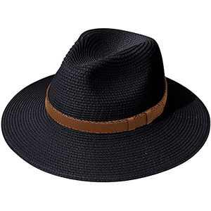 Lanzom Women Wide Brim Straw Panama Roll up Hat Belt Buckle Fedora Beach Sun Hat UPF50+ (X Belt-Black)