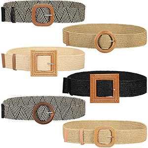 6 Pieces Straw Woven Stretch Waist Belt Elastic Rattan Belt Straw Buckle Belt for Women Dress