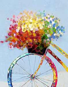 Sooyinpaint Paint by Numbers for Adults,Romantic Flower Bicycle Paint by Numbers for Adults Beginner,16x20inch Home Wall Living Room Bedroom Decorative Painting