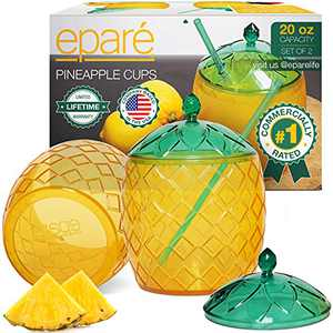 Premium Pineapple Cups - Commercially Rated Luau Party Decorations For Adults & Kids - Hawaiian Themed Cup w/ Straw by Eparé