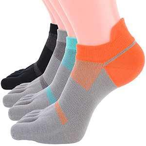 AoMagic 5 Toe Socks for Women & Men for Running Breathable Socks with Toe 4 Pairs Low Cut Multicolor Medium (US 7-10)