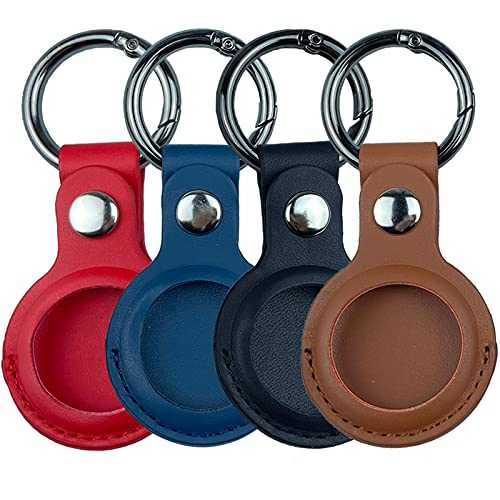 Leather Protective Case for Airtag, Anti-Lost Keychain for Airtags, Holder for Air Tag, Accessories for Airtag Keychain, Find Items for Keys, Dogs, Wallet, Backpacks, Multicolor Key Ring(4 Pack)