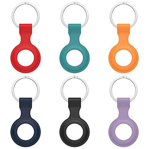 Protective Case for Airtag, Anti-Lost Keychain for Airtags, Holder for Air tag Accessories for Airtag, Find Items for Keys, Dogs, Wallet, Backpacks (Black, Blue, Green, Red, Purple, Orange)