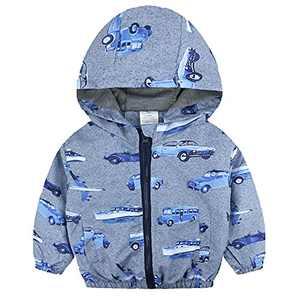 Toddler Boy Cartoon Car Windbreaker Baby Zipper Hooded Outwear Jacket Lightweight Coat