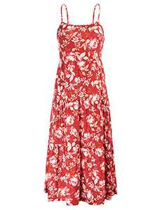 GRACE KARIN Women Summer Casual Loose Dress Beach Cover Up Long Cami Dresses Red-Floral M