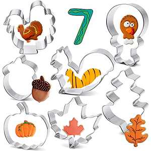 Fall Cookie Cutters Set Large, 7 Pcs Fall Thanksgiving Cookie Cutters, Turkey, Maple Leaf, Oak Leaf, Turkey Leg, Squirrel and Acorn,- Stainless Steel Biscuit Fondant Cutters