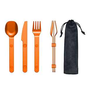 Camping Lunch Utensils, Magnetic Flatware Sets, Portable Reusable Travel Cutlery Set, Aluminum Silverware Set, Spoon Knife Fork Set with Case, Camping Cooking Kit, Black Matte