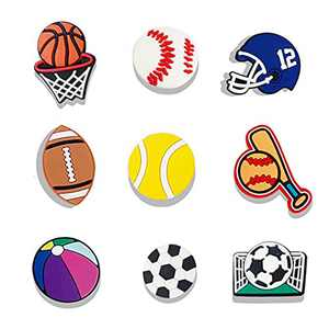 9PCS Shoe Charms for Clog Sandals Sports Balls Croc Charms for Women Girls Kids Basketball Shoe Decoration Wristband & Bracelet Party Favor Gifts