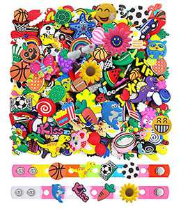 100 Pcs Shoe Decoration Charms for Boys and Girls,Cute Clog Pins Accessories,2 Wristband Bracelets Included (100 Pcs + 2 Bracelets)