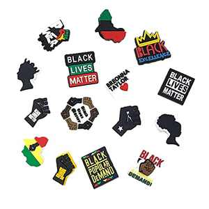 Shoe Charms for Clogs, Black Lives Matter Shoe Decorations for Sandal, Cute Gifts for Birthday Christmas Party Favors,49 Pcs No Repeat,Not Random (BLM Justice 15 Pcs)
