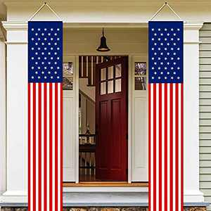 4th of July Decorations Outdoor American Flag Wall Hanging Banners(2 Pcs)