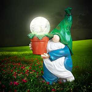 Garden Gnome Decor - Outdoor Statue Figurine Carrying Magic Orb with Solar LED Lights, Outdoor Decorations for Home Patio Lawn Ornament Housewarming Gift ,9.4X 5.9Inch