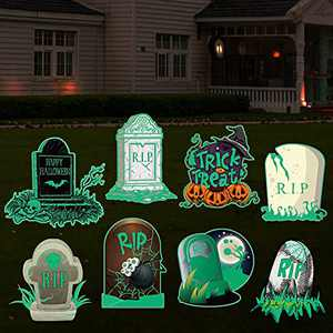Firegodzr Halloween Large Fluorescence Graveyard Tombstones Yard Signs with Stakes,Halloween Pumpkin Trick or Treat Decorations Outdoor - Set of 8,Scary Graveyard Decorations for Halloween.