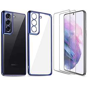 Samsung Galaxy S21 Case, LucaSng [3 in 1] Slim Soft TPU Silicone Phone Case for Samsung S21 5g with Two Glass Screen Protectors, for Men & Women(Blue & Clear)
