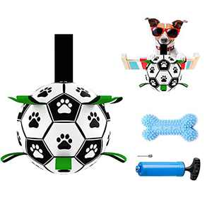 Dog Soccer Ball with Grab Tabs Dog Tug Toy for Small Medium Dogs Interactive Soccer Ball for Dogs Indoor Outdoor Pool Beach Grassland