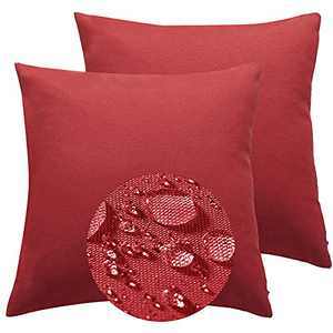 Outdoor Throw Pillow Covers Waterproof 18x18 Inch Solid Decorative Garden Chair Cushion Case for Patio, Couch, Tent, Balcony and Sofa Home Decoration,2 Pack(Red, 18 X 18 Inches)