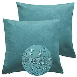TOPCHANCES Outdoor Pillow Covers , Outdoor Waterproof Throw Pillow Covers 18x18,Decorative Square Outdoor Pillows Cushion Case Patio Pillows for Patio Garden Porch Sofa (Blue-Green, 18 X 18 Inches)